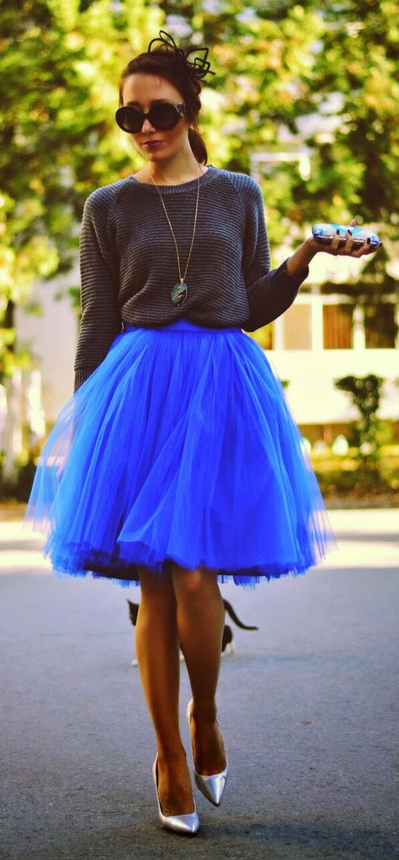 Grey Knit Sweater Faux Tulle Skirt Copper Pumps