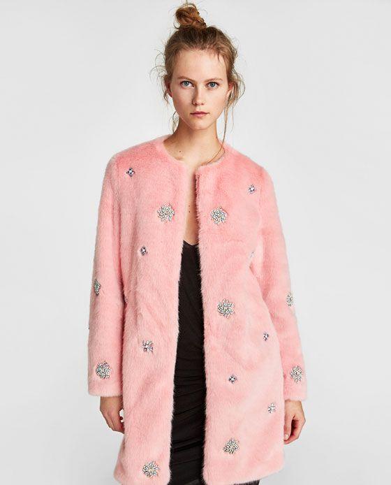 Abrigo pelo rosa mujer