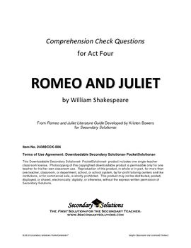 Help with some Romeo and Juliet Questions?