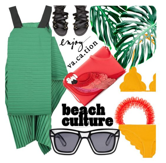 """""""Beach Party"""" by linea-prima ❤ liked on Polyvore featuring Mary Katrantzou, Taylor, WALL, Kate Spade, Ksubi, party, beach, colorblock, trend and 2016"""