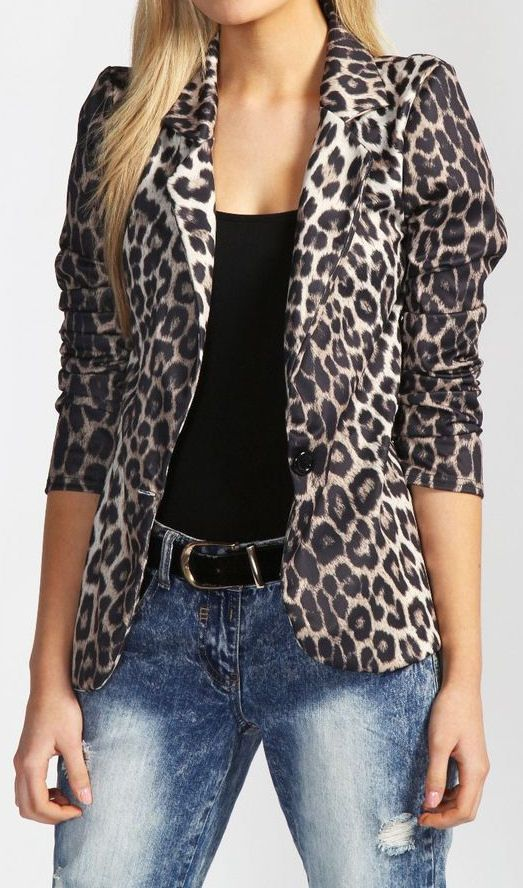 Love the Leopard Blazer <3 and the black top underneath but I would wear it with dark wash denim bottom