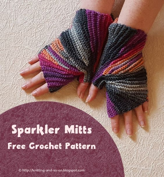Sparkler Mitts - free crochet pattern by Knitting and so on ...