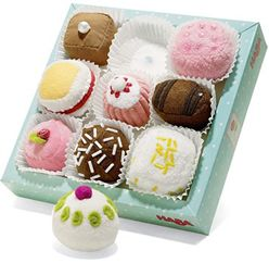 A set of 9 intricate little cake soft toys in a variety of colours and styles.  Possibly the most delicious little toy we have ever seen, straight out of a French patisserie . . . hmmmmm!  Comes in a decorative wooden box and each cake comes in a paper tray.