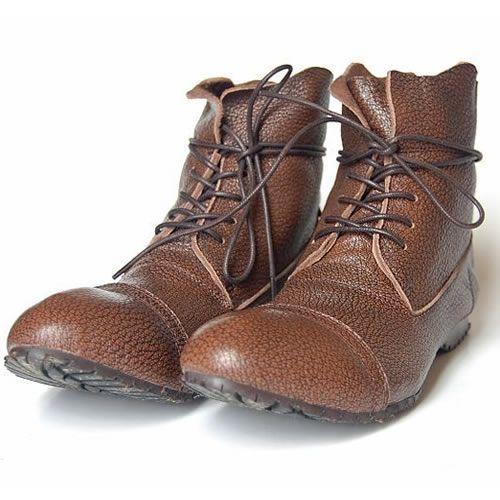Designer Brown Lambskin Leather Lace up Goth Western Cowboy Boots Men SKU-1100034