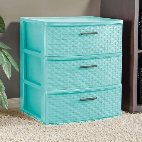 The Sterilite 3 Drawer Wide Weave Tower In Aqua Is The Ideal