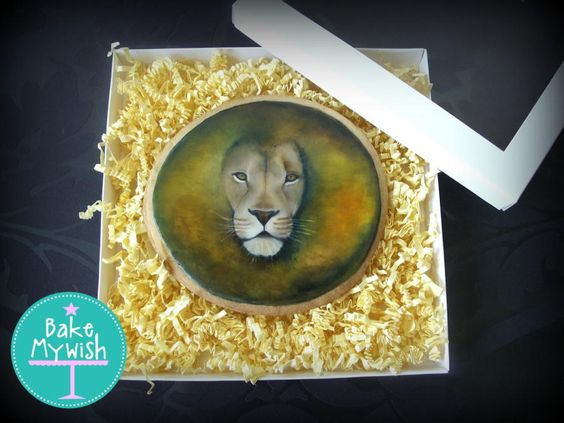 Hand painted Lion Cookie - Cake by Bake My Wish