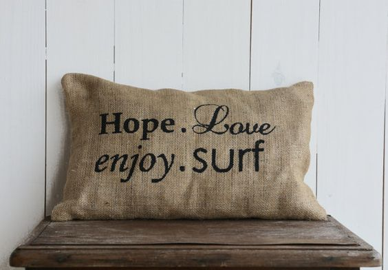 Cushion cover Quote Burlap Pillow cover Hope Love Enjoy