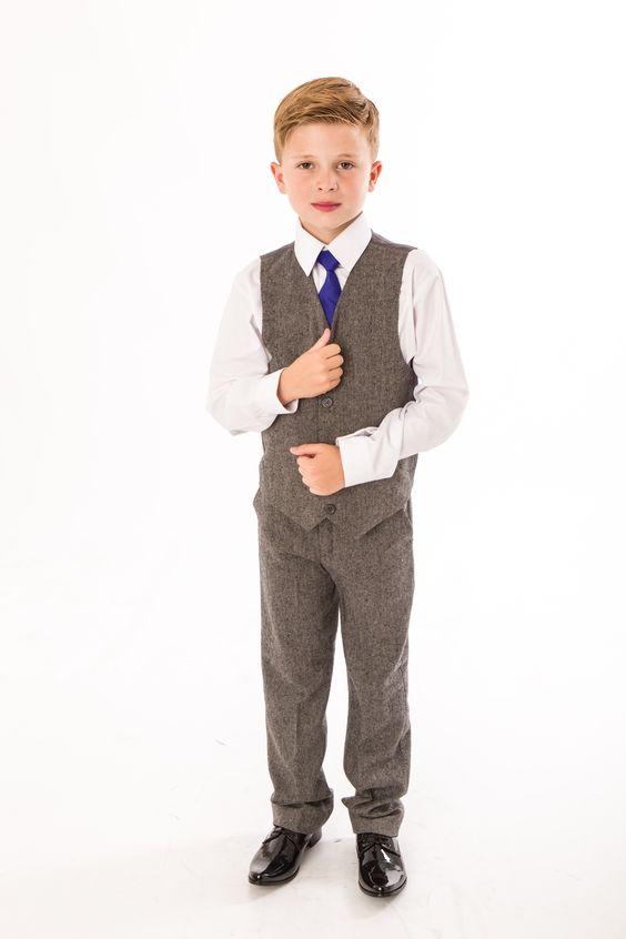 Boys 4pc tweed herringbone suit for any occasion