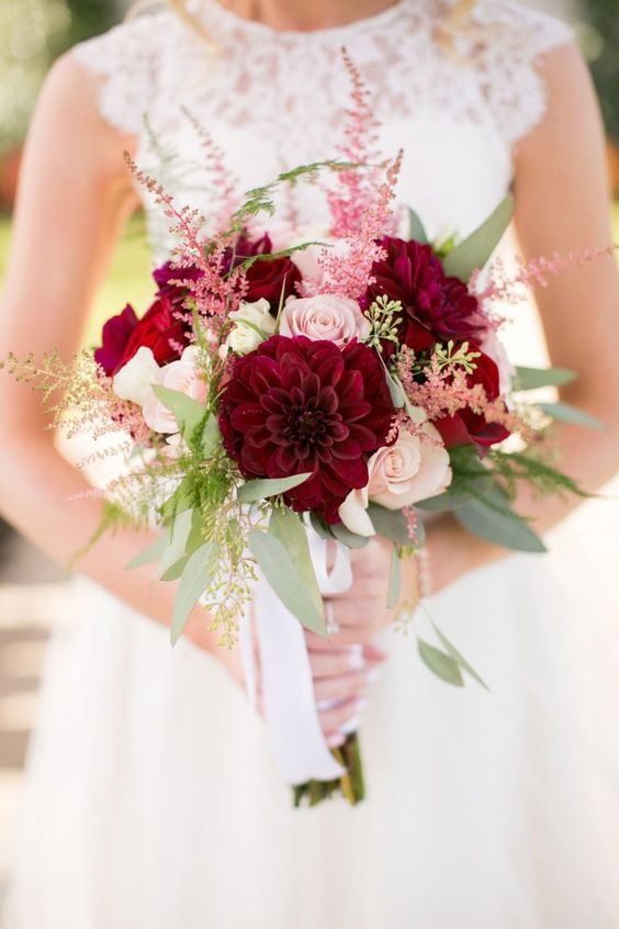 crimson and pink wedding bouquet