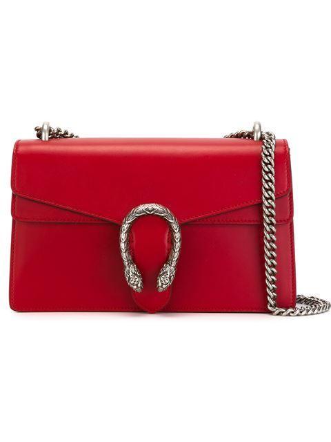 GUCCI DIONYSUS LEATHER SHOULDER BAG, RED