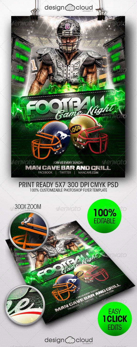 Fields, Football and Flyer template on Pinterest
