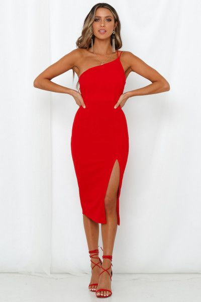 Kleid Hochzeitsgast Schulterfrei Made In Michigan Midi Dress Red In 2020 Rotes Kleid Outfit Rot Anziehen Rotes Midi Kleid