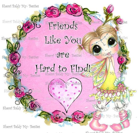 INSTANT DOWNLOAD Digi Stamps Big Eye Big Head Dolls Digi Bestie wEE wINGED oNES fRIENDS lIKE yOU! Card Topper  By Sherri Baldy