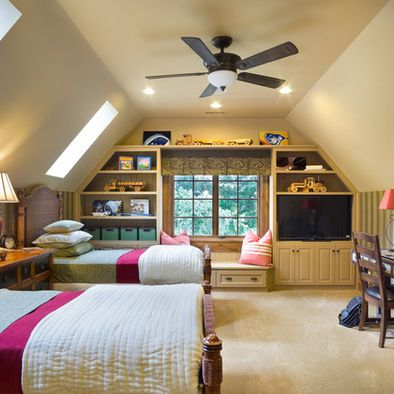 Bonus Room Design - if our attic ceilings were taller I'd do something like this if we finished off the space.