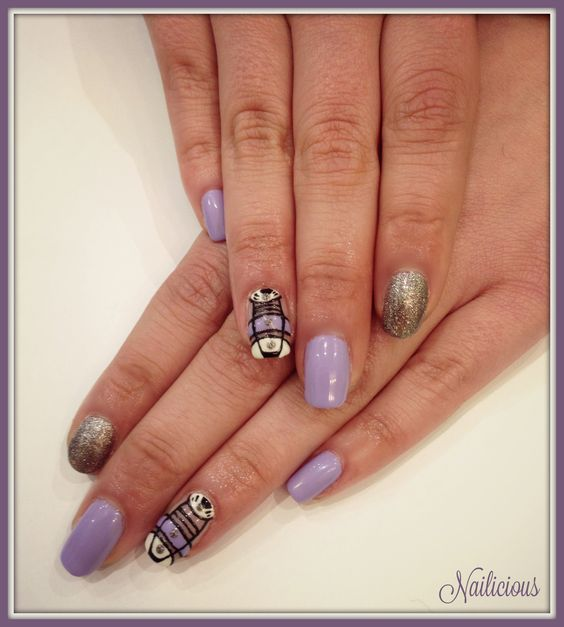 Purple Geometric Nail Art