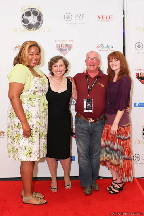 """C.D. Taylor, Marianne J. Murphy, Jeff Sable and Sarah Pettycrew on the red carpet at the Action on Film International Film Festival 2012 at the screening of """"Life at the Resort""""."""