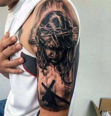 Retratos Y Diseños De Tatuajes De Jesus De Nazaret Tatuaje De Jesús Tatuaje De Cruz Tatuaje De Cristo