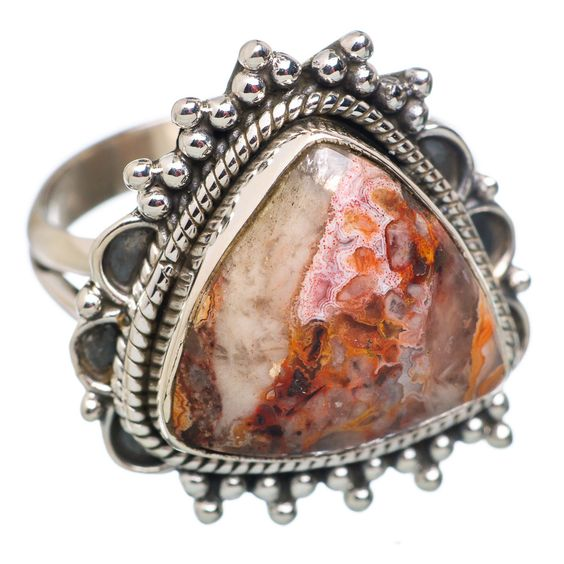 Crazy Lace Agate 925 Sterling Silver Ring Size 8.25 RING673910