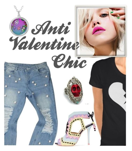 """""""Anti Valentine Chic"""" by prettyroses ❤ liked on Polyvore featuring Chanel, Sophia Webster, Sweet Romance, women's clothing, women, female, woman, misses, juniors and outfit"""