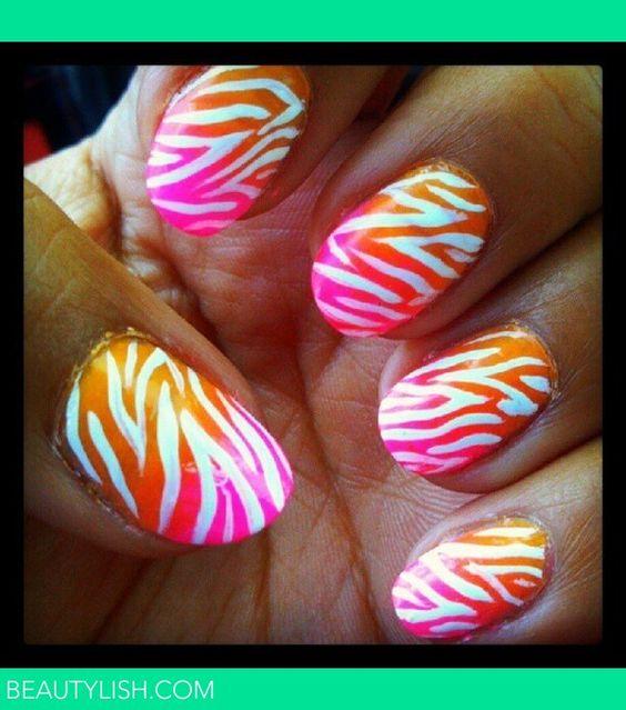 Zebra nails  Beautylish