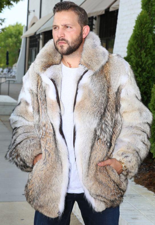 Coyote Fur Jacket With Optional Hood, Turn Fur Coat Into Jacket