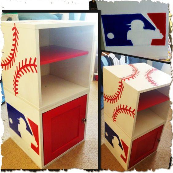 Austin's baseball shelf for his room that I painted