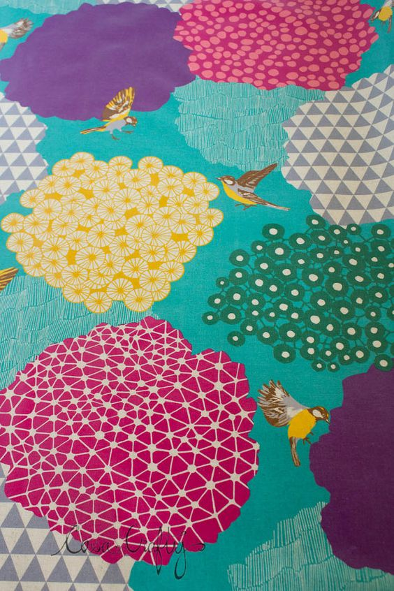 echino decoro laminate spring time fancies by turtleturtle on Etsy (Craft Supplies & Tools, Fabric, echino, decoro, song bird, put a bird on it, laminate, cotton, canvas, japan, japanese)