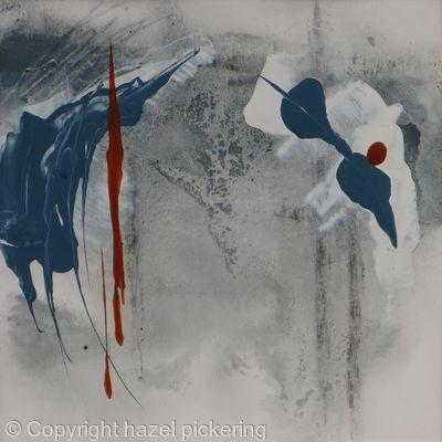 Blue Clouds; Rain grey hills - Mixed media on paper