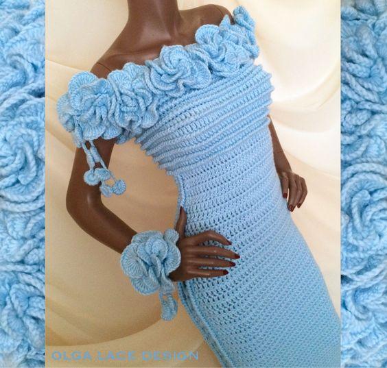 """Купить Вязаное платье """"Flowers"""" от Olga Lace - вязаное платье, платье в пол, платье с вырезом"""