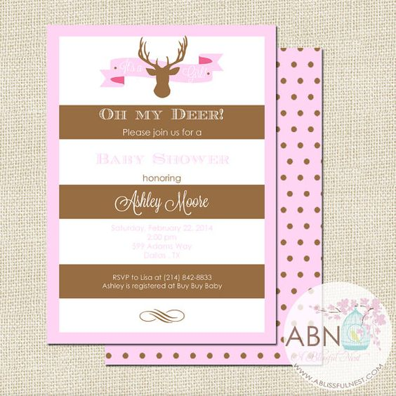 Oh Deer! Someone is having a baby girl! Invitation by A Blissful Nest