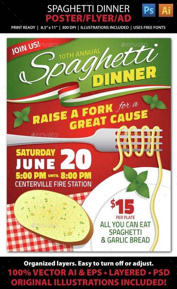 SPAGHETTI DINNER FUNDRAISER Event Poster, Flyer or Ad  Advertise your Spaghetti Dinner fundraising event or Italian night with this fun, colorful flyer! File comes with all the elements you need to create accompanying print pieces such as postcards, ads, invitations, brochures, announcements, banners, signs, and web graphics.
