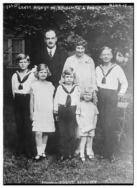Viktoria Luise, Duchess of Brunswick (nee Princess of Prussia) and husband Ernst August, Duke of Brunswick with their 5 children (from left):  Prince Georg Wilhelm, Princess Frederica (later Queen of Greece), Prince Christian Oskar, Prince Welf Heinrich, and Prince Ernst August (later Duke Ernst August IV).