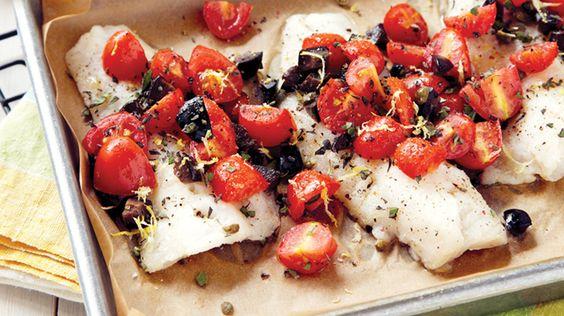 Aiglefin rôti aux câpres, olives et tomates