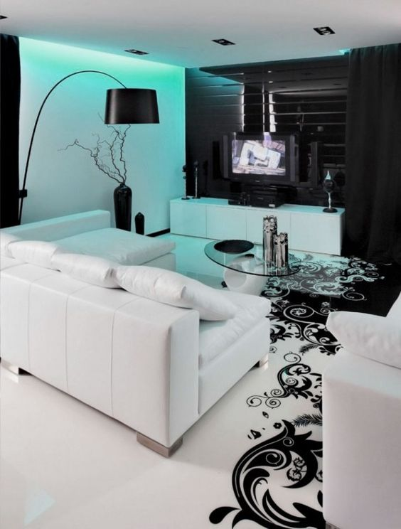 Black And White Living Room With Teal charming-black-and-white-living-room-design-inspiration-with-cool