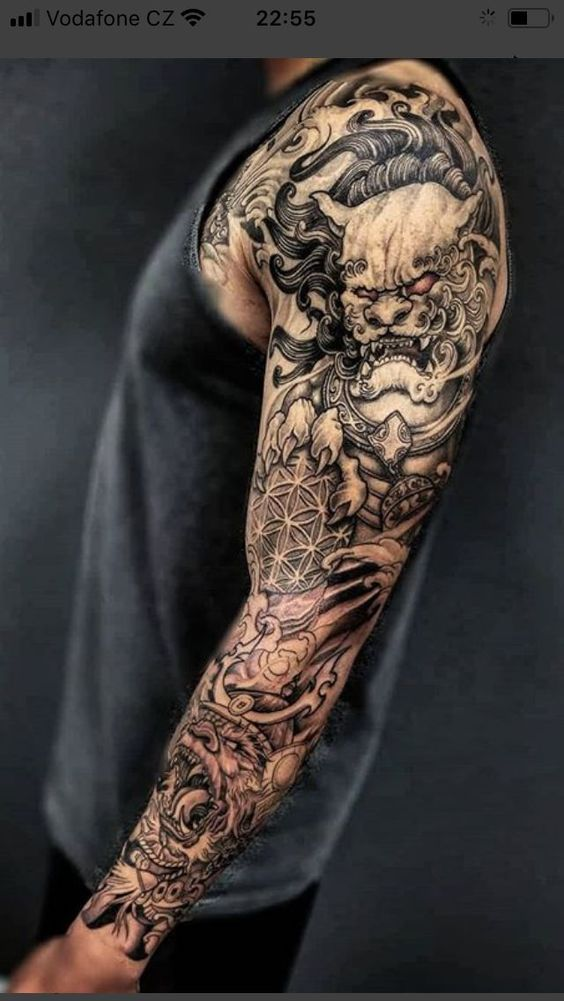 Great Styling With Many Components Tattoo Sleeve Men Sleeve Tattoos Samurai Tattoo Sleeve
