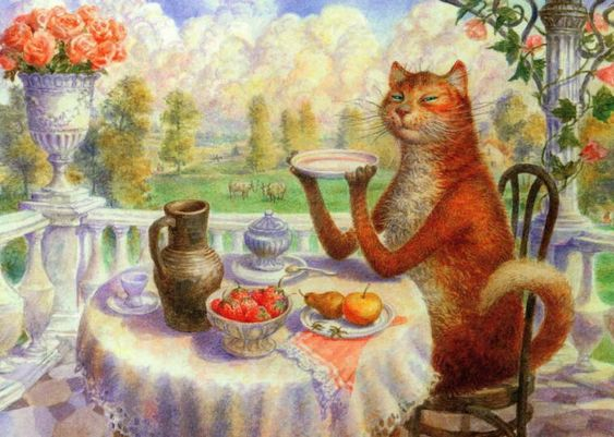 Summer cat painting. Vladimir Rumyantsev