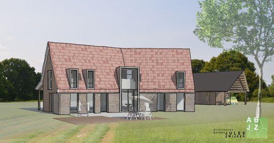 Schetsontwerp voor een landhuis met grote schuur in Zuidwolde
