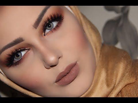 ميك اب خطيررر وسهل ميك اب خفيف للمناسبات مكياج ذهبي وبني هيا أبوشالة Youtube Hair Up Styles Makeup Videos Eye Makeup