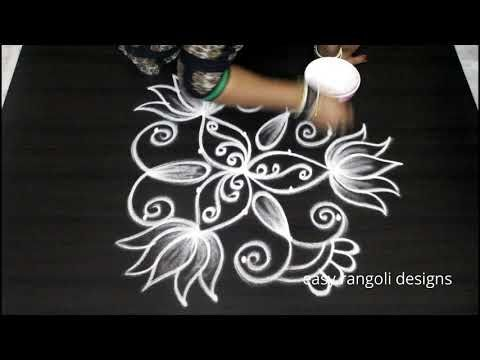 Beautiful Lotus Muggulu With 5 Dots Easy Rangoli Designs