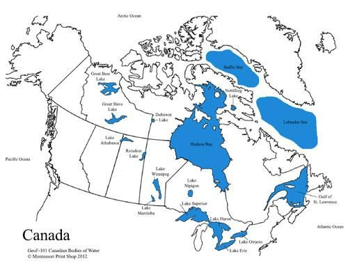 Canadian Bodies Of Water Map Montessori Lessons