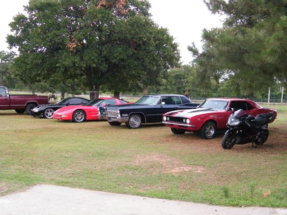 2010 Cars in front of our buffalo's field at our home in Choctaw Oklahoma