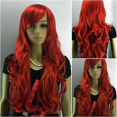 Capless Long Curly Red Oblique Women Synthesis Hair Full Wig – USD $ 28.49