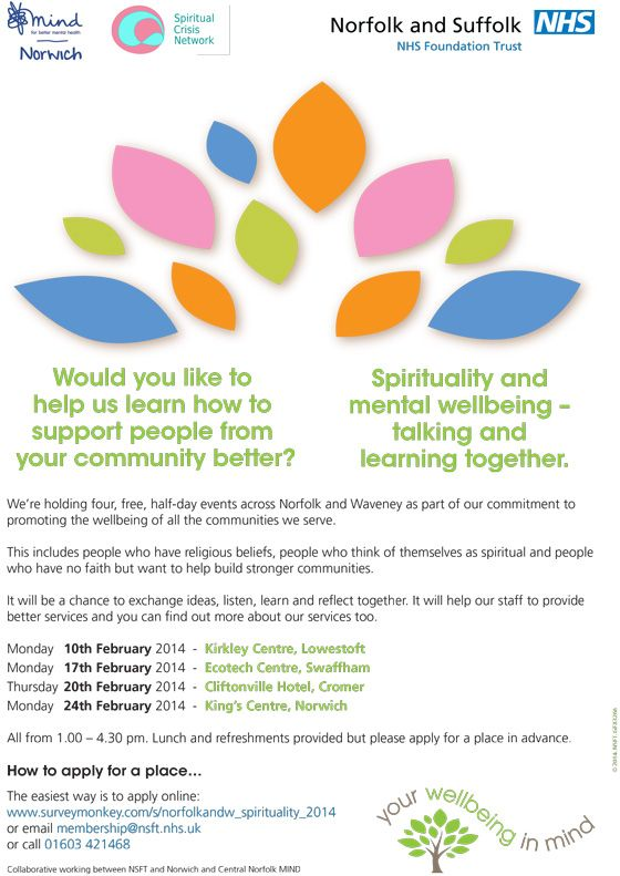 Spirituality and Mental Health Seminars and other news Norfolk and Suffolk NHS Foundation Trust