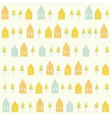 Houses and spruces pattern vector - by kondratya on VectorStock®