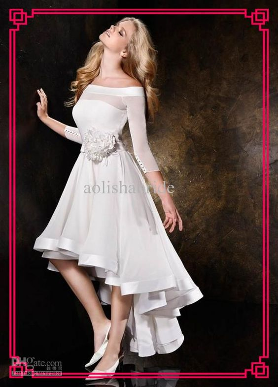 Wholesale Custom 2013 Off The Shoulder Handmade Flowers Short Front Long Back Wedding Dresses Hi-Lo Beach Wedding Dress Summer Casual Bridal Gowns, Free shipping, $112.05/Piece | DHgate Mobile
