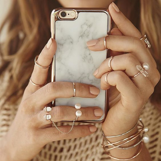 Our white marble and rose gold phone case is now available at @shopbop -SWx #samanthawills by samanthawills: