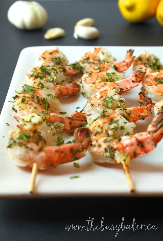 Lemon Garlic Grilled Shrimp Skewers | Shrimp Skewers, Grilled Shrimp ...