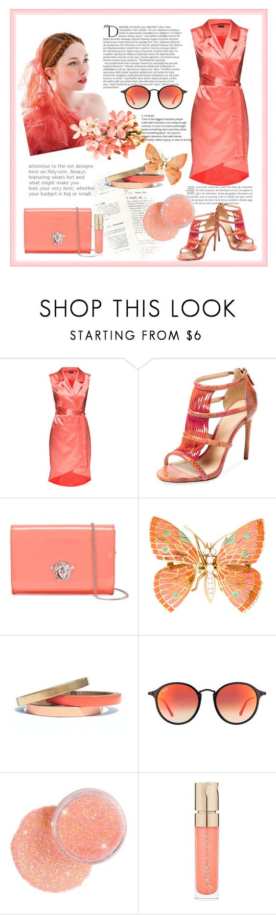 """i ❤ peach"" by ximenita ❤ liked on Polyvore featuring Alexandre Birman, Versace, Voz Collective, Balmain, Ray-Ban and Smith & Cult"