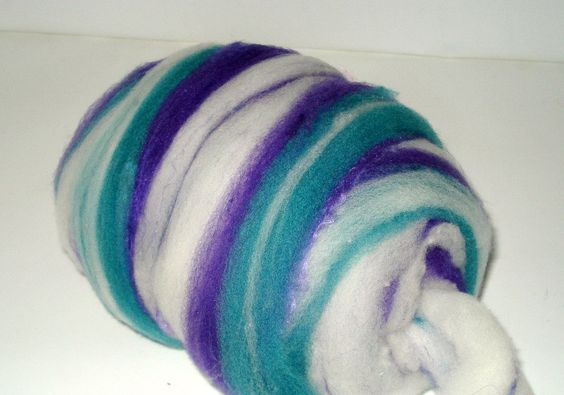 Hand Combed Top--Teal and Violet 1.6 oz. $14.95, via Etsy.