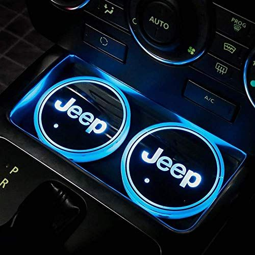Led Car Logo Cup Holder Lights Jeep Interior Accessories Waterproof Bottle Drinks Coaster Built In Light 7 Colors Cute Car Accessories Jeep Cars Jeep Interiors